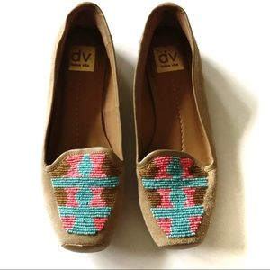 Dolce Vita Tan Suede Beaded Loafers